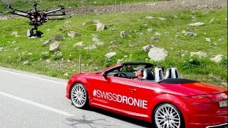 Dronie (Selfie + Drone) in an Audi TTS Roadster on the #SwissGrandTour