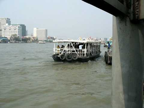 Final approach of the Siriraj Hospital cross river ferry at Tha Chang.