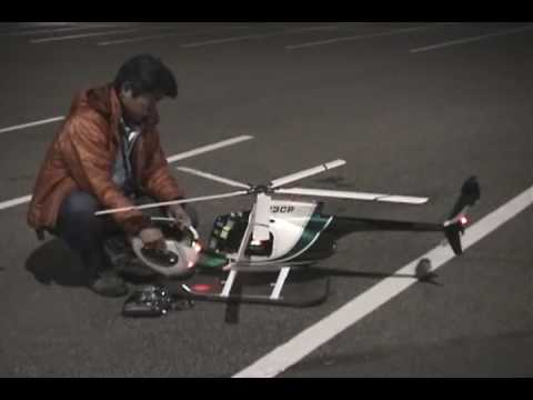 T-rex 600 ESP Scale RC Helicopter Hughes 500 Night Flying