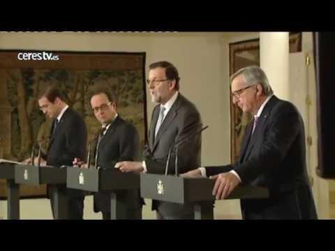 Rajoy, Juncker, Hollande y Passos Coelho firman en Moncloa la conexión energética europea a