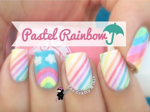 Pastel Rainbow Nail Art