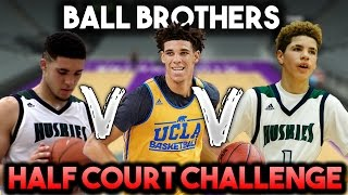 WHAT BALL BROTHER CAN HIT A HALFCOURT SHOT FIRST? LONZO VS LAMELO VS LIANGELO BALL! NBA 2K17
