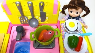 Baby Doll's Cooking Time Cart Kitchen Fried Egg Toy Soda