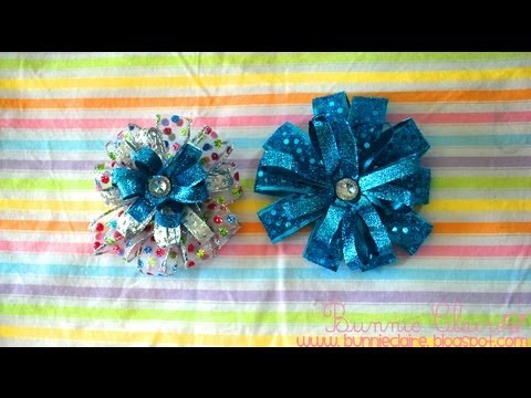 How to make a layered flower bow tutorial! Hair bows or gift bows! VERY CUTE