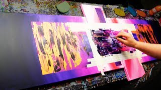 Abstract Painting Demonstration in Acrylics using masking tape knife and splatter - Rubus