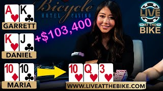 Maria Ho HIGHLIGHTS from $103,400 Win in Million Dollar Cash Game 5.0 ♠ Live at the Bike!