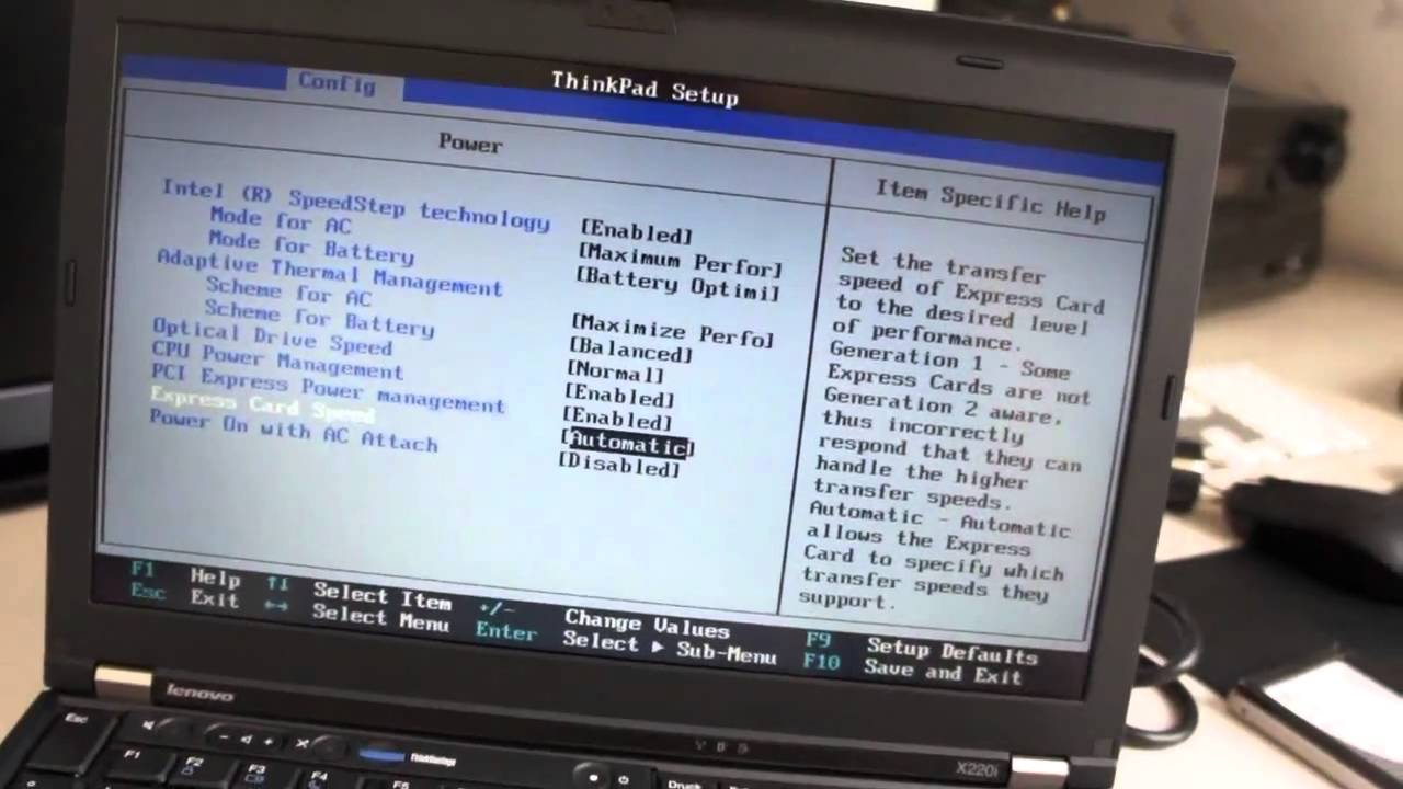 Lenovo Thinkpad X220 Bios Tour Uefi Youtube