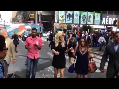 Jenny McCarthy walking in Times Square