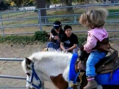 Cute Kids Rides Horse