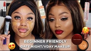 GLAM DATE NIGHT/ VALENTINES DAY MAKEUP TUTORIAL | WOC | KLAIYI HAIR