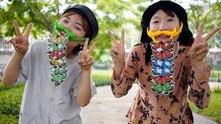 Chị Hằng Và Chị Tuyết Chơi Trò Chơi Dán Râu ❤ BIBI TV ❤