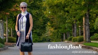 fashion flash | ivory turtleneck, black vest & houndstooth pencil skirt