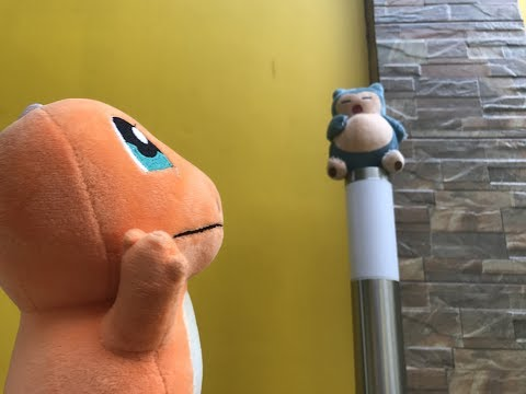 POKEMON PLUSHIES WAR! Pikachu vs. Snorlax with Squirtle, Charmander and Bulbasaur