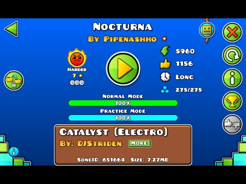 Geometry Dash 2.1 [EPIC LEVEL] - NocTurna By Pipenasho (all Coins)