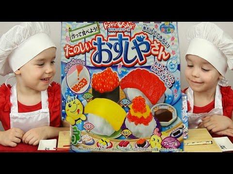 Готовим СУШИ КОНФЕТЫ Японские сладости из порошка вкусняшки сделай сам Popin Cookin DIY