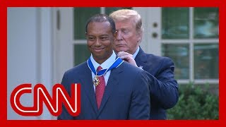 Tiger Woods gets emotional after Trump gives him Medal of Freedom