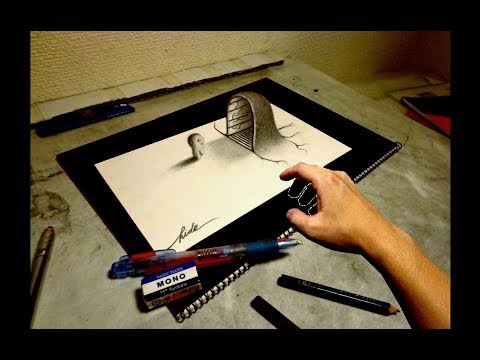 3D Drawing - How to draw 3D ART (The entrance of mystery) - 3Dアートの制作風景