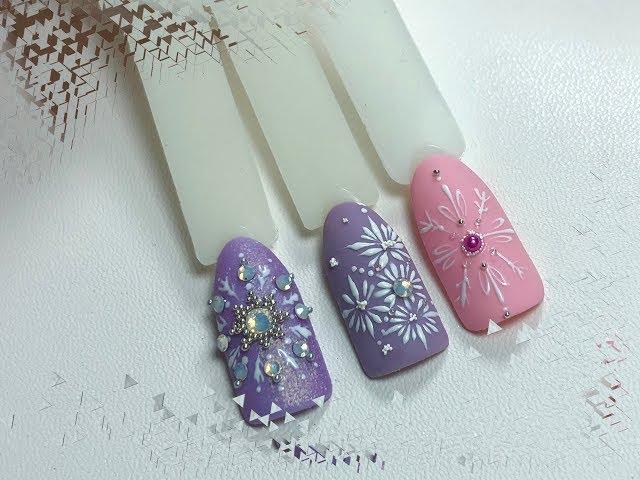 Новогодний маникюр. Снежинки на ногтях. Зимний маникюр