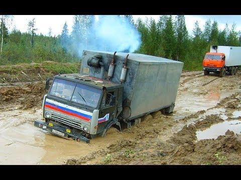 Труднопроходимые дороги Грузовики на бездорожье техника на зимнике и конец зимника #3