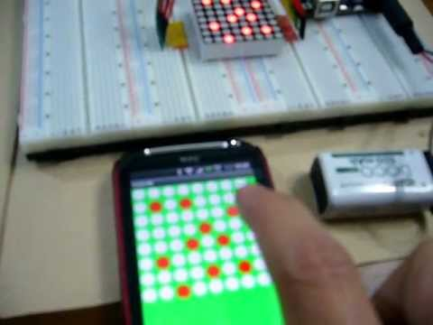 Remote Control LED Matrix = Android + Arduino / motoduino + LED 8x8 + Bluetooth