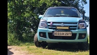 Modified Maruti Suzuki Wagon R    Wide Tyres    HKS Exhaust    Touch Screen Stereo   