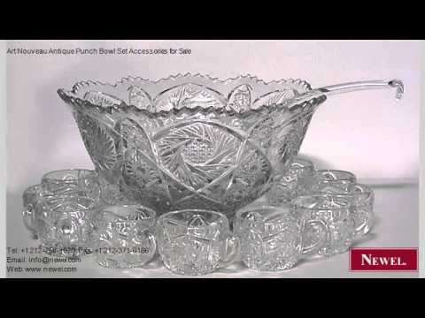 art nouveau antique punch bowl set accessories for sale youtube. Black Bedroom Furniture Sets. Home Design Ideas