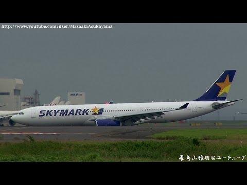 [BC's 1st A330] Skymark Airlines (SKY) JA330A landing @ Haneda RWY34L [June 22, 2014]