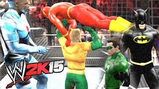 WWE 2K15 - SUPERMAN VS BATMAN VS FLASH VS GREEN LANTERN VS AQUAMAN VS CYBORG - JUSTICE LEAGUE