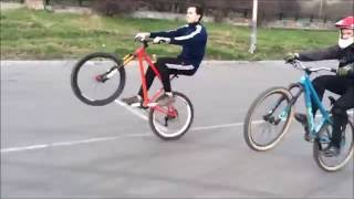 biking on the rear wheel