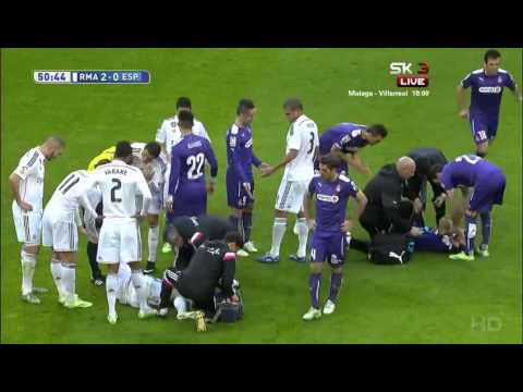 Fabio Coentrao brutal tackle on Jose Canas   Real Madrid   Espanyol 10 01 2015 HD
