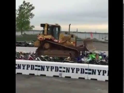 NYPD CRUSHES BIKES DIRT BIKES MOTORCYCLES FAIL/WIN