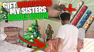 I WRAPPED MY SISTER WHOLE ROOM IN CHRISTMAS PAPER! (She Was Heated) Vlogmas 12