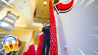 WORLD'S TALLEST RED CUP TOWER! (2 STORIES)