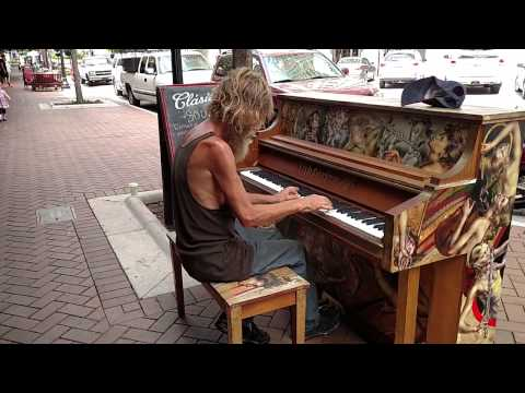 Homeless Man, Donald Gould, Plays Come Sail Away on Piano in Sarasota, FL