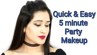 PARTY MAKEUP IN 5 MINS FOR BEGINNERS- Quick & Easy Makeup Look