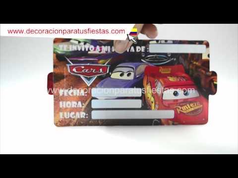 Tarjetas de invitación de cumpleaños con el tema de cars - YouTube