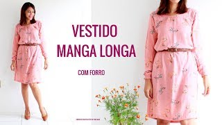 VESTIDO SIMPLES COM MANGA COMPRIDA COM FORRO- Roupas Feitas por Mim