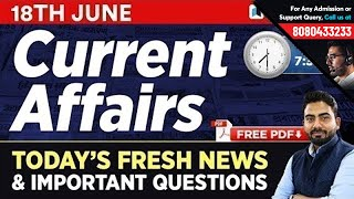#342: 18th June 2019 Current Affairs in Hindi | June 2019 Current Affairs Questions + GK Tricks