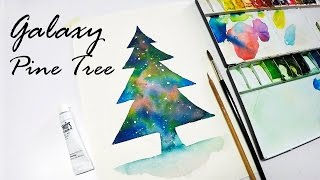 [LVL2] Painting Galaxy Pine Tree Easy Technique : Speed Painting