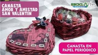 DIY♻CANASTA CORAZÓN EN PAPEL PERIÓDICO - BASKET PAPER HEART IN NEWSPAPER
