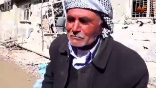 Turkish barbarians state destroyed the old Kurdish man home crying Cizre town