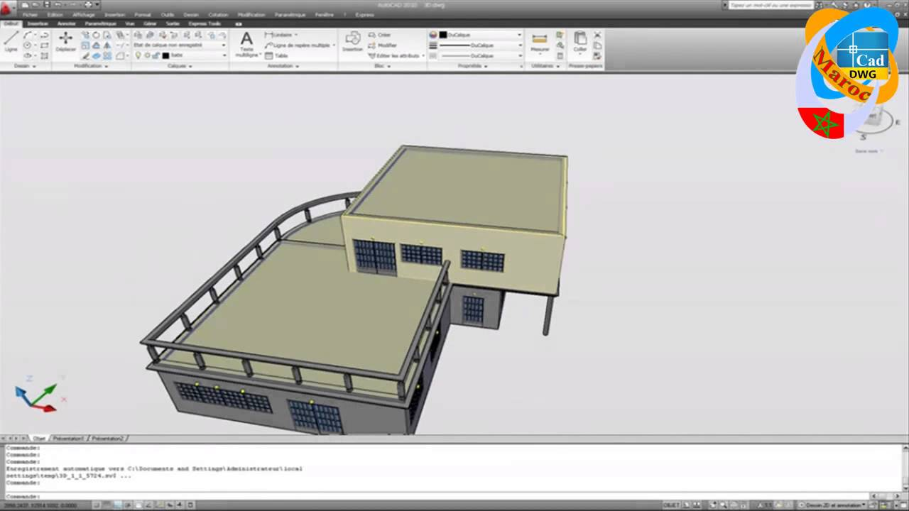 dessiner un plan de maison avec autocad hd youtube. Black Bedroom Furniture Sets. Home Design Ideas