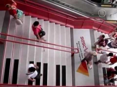 Лестница-фортепиано в Бразилии призывает двигаться