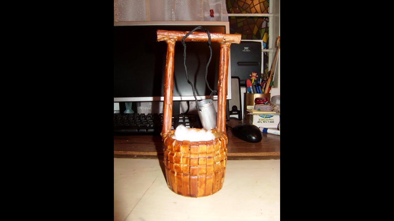 Como hacer un pozo miniatura con pinzas de madera 2 de 2 - Como cerrar un terreno con madera ...