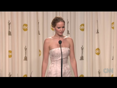 Raw: Jennifer Lawrence backstage after 2013 Oscar win