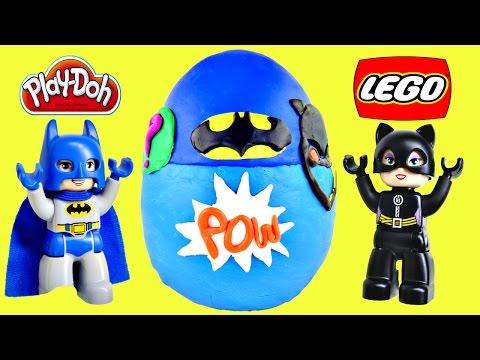 HUGE LEGO Play Doh Surprise Egg Batman Superhero Duplo Batcave Adventu...