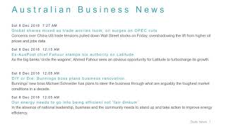 Business News Headlines for 8 Dec 2018 - 8 AM Edition