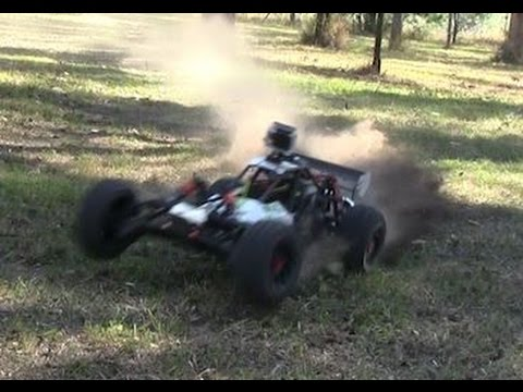 Rc 1/5th Scale Baja Buggy 27CC Short Multicam Drift Video With Tree Hit Fail.