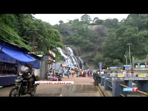 Bathing in Courtallam Water Falls stalled owing to floods