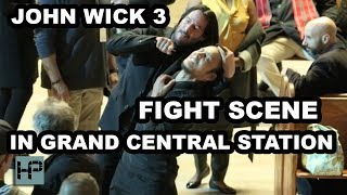 'John Wick 3' -- Keanu Reeves & Mark Dacascos Film Fight Scene in NY's Grand Central Station